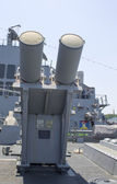 Harpoon cruise missile launchers on the deck of US Navy destroyer during Fleet Week 2012 — Stock Photo