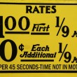 Stock Photo: New York City taxi rates decal. This rate was in effect from April 1980 till July 1984.