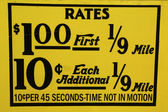 New York City taxi rates decal. This rate was in effect from April 1980 till July 1984. — 图库照片
