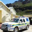 Police car at Sani Pass border control between South Africa and Lesotho — Stok fotoğraf