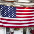 Huge American flag inside the deck of US Navy destroyer during Fleet Week 2012 — 图库照片