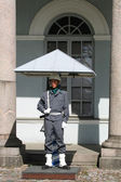 Finnish soldier guarding Presidential Palace in Helsinki, Finland — Stock Photo