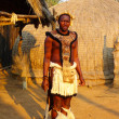 Stock Photo: Zulu warrior in Shakaland Zulu Village, South Africa