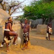 Stock Photo: Zulu warriors in Shakaland Zulu Village, South Africa
