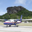 Foto Stock: Winair DHC-6 aircraft ready to take off at St Barts airport