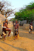 Zulu warriors in Shakaland Zulu Village, South Africa — Stock Photo