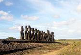 The famous fifteen moai at Ahu Tongariki, Easter Island — Stock Photo