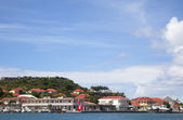 Gustavia Harbor waterfront at St Barts, French West Indies — Stock Photo