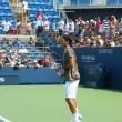 Stock Photo: Professional tennis player Roger Federer practices for US Open