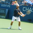 Stock Photo: Professional tennis player Carlos Moypractices for US Open