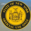 Stock Photo: New York State official use only sign placed on state vehicle