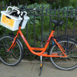 Orange bike in Brooklyn — Stok fotoğraf