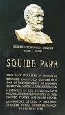 Dr. Edward Squibb memorial at Squibb Park in Brooklyn — Stock Photo