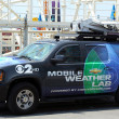 Stock Photo: CBS Channel 2 mobile weather lab in Brooklyn, NY