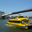 New York City Water Taxi under Brooklyn Bridge — Stok fotoğraf