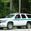 Stock Photo: US Park ranger car in ArcadiNational Park in Bar Harbor, Maine