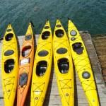 Постер, плакат: Sea kayaks ready for tourists in Bar Harbor Maine