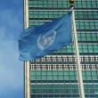 Stock Photo: United Nations Flag in front of UN Headquarter in New York