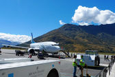 Air New Zealand plane landed in Queenstown, New Zealand — Stock Photo