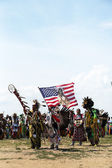 The Eagle Staff leads the Grand Entry at he NYC Pow Wow in Brooklyn — Stock Photo