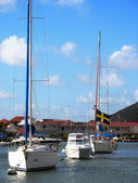 Boats in Gustavia Harbor at St. Barts, French West Indies — Stock Photo