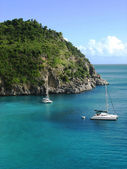Areal view at Shell beach, St. Barths, French West Indies — Stock Photo