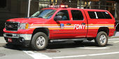 FDNY Battalion 1 chief SUV in Lower Manhattan — Stock Photo