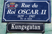 Street signs in St. Barts posted in Swedish along with their French name — Stock Photo