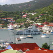 Stock Photo: Aerial view at GustaviHarbor with megyachts at St Barts, French West Indies
