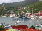 Aerial view at Gustavia Harbor with mega yachts at St Barts, French West Indies — Stock Photo