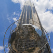 Stock Photo: Globe in front of Trump International Hotel and Tower at Columbus Circle, Manhattan, New York