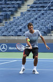 Seventeen times Grand Slam champion Roger Federer practices for US Open 2013 at Arthur Ashe Stadium at Billie Jean King National Tennis Center — Stock Photo