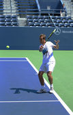 Professional tennis player Richard Gasquet practices for US Open 2013 at Grandstand Stadium at Billie Jean King National Tennis Center — Stock Photo