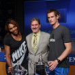 US Open 2012 champions SerenWilliams and Andy Murray with USTChairman, CEO and President Dave Haggerty at 2013 US Open Draw Ceremony — Stockfoto #30282969