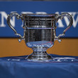 Stockfoto: US Open Men singles trophy presented at 2013 US Open Draw Ceremony