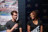 US Open 2012 champions Serena Williams and Andy Murray at the 2013 US Open Draw Ceremony — Stock Photo
