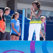 First Lady Michelle Obama joined by professional tennis players at Arthur Ashe Kids Day at Billie Jean King National Tennis Center — Stock Photo #30361597