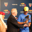 Stock Photo: Twelve times Grand Slam champion Rafael Nadal during 2013 Emirates Airline US Open Series trophy presentation