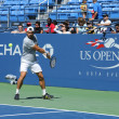 Stock Photo: Professional tennis player David Ferrer practices for US Open 2013 at Billie JeKing National Tennis Center