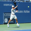 Stock Photo: Professional tennis player Ricardas Berankis practices for US Open 2013 at Billie JeKing National Tennis Center