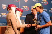 Twelve times Grand Slam champion Rafael Nadal during 2013 Emirates Airline US Open Series trophy presentation — Stock Photo