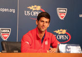 Seven times Grand Slam champion Novak Djokovic during press conference at Billie Jean King National Tennis Center — Stock Photo