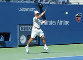 Professional tennis player Ricardas Berankis practices for US Open 2013 at Billie Jean King National Tennis Center — Stock Photo