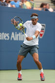 Twelve times Grand Slam champion Rafael Nadal during his first round match at US Open 2013 against Ryan Harrison — Stock Photo