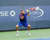 Professional tennis player Andreas Haider-Maurer from Austria during his first round match at US Open 2013 — Stock Photo