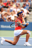Professional tennis player Kirsten Flipkens from Belgium during her first round match against nine times Grand Slam champion Venus Williams at US Open 2013 — Stock Photo