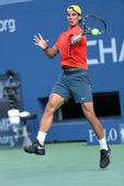 Twelve times Grand Slam champion Rafael Nadal practices for US Open 2013 at Arthur Ashe Stadium at Billie Jean King National Tennis Center — Stock Photo