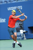 Twelve times Grand Slam champion Rafael Nadal practices for US Open 2013 at Arthur Ashe Stadium at Billie Jean King National Tennis Center — Stock Photo