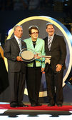 New York Mayor Michael Bloomberg, Billie Jean King and USTA Chairman, CEO and President Dave Haggerty during US Open 2013 opening night ceremony — Stock Photo