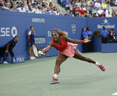 Seventeen times Grand Slam champion Serena Williams during her final match at US Open 2013 against Victoria Azarenka — Stock Photo